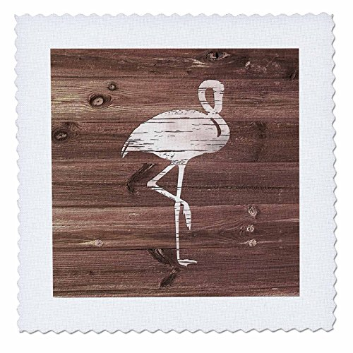 3dRose Russ Billington Nautical Designs - White Painted Flamingo on Brown Weatherboard- Not Real Wood - 22x22 inch quilt square (qs_261827_9) by 3dRose (Image #1)
