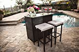 Suncrown Outdoor 3-Piece Brown Wicker Bar Set Glass Bar Two Stools