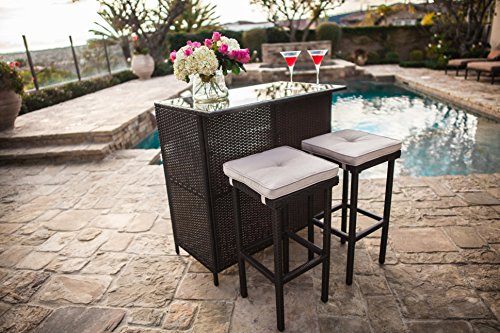 Suncrown Outdoor 3-Piece Brown Wicker Bar Set: Glass Bar and Two Stools with Cushions - Perfect for Patios, Backyards, Porches, Gardens or Poolside (Sets Outdoor Wicker Bar)