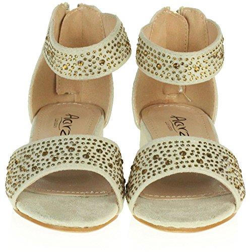 AARZ LONDON Mädchen Kinder Sparkly Diamant Abend Party Komfort Blockabsatz Sandalen Schuhe Größe Gold