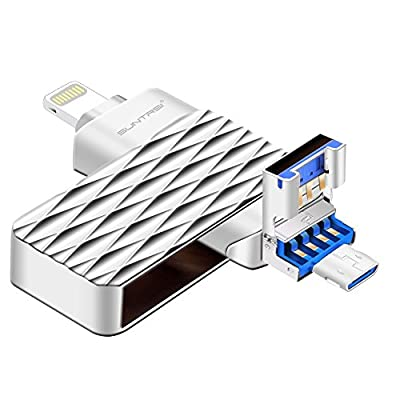 iPhone Lightning Flash Drive,Suntrsi Pen Drive External Memory Storage Lightning Memory Stick OTG Flash Drive Compatible to iPhone,iPad,iPod,Mac,Android and PC