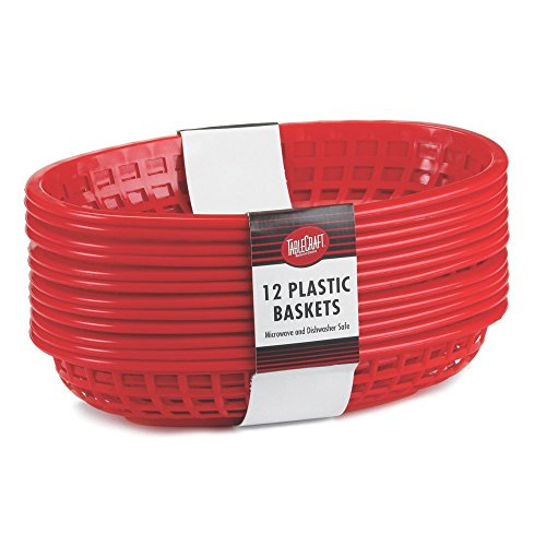 TableCraft C1084R Red Oval Cash & Carry Jumbo Basket - 12/PK by Tablecraft