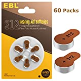 EBL Hearing Aid Batteries Size 312 PR41 60 Pack 1.45V Zinc-Air Battery