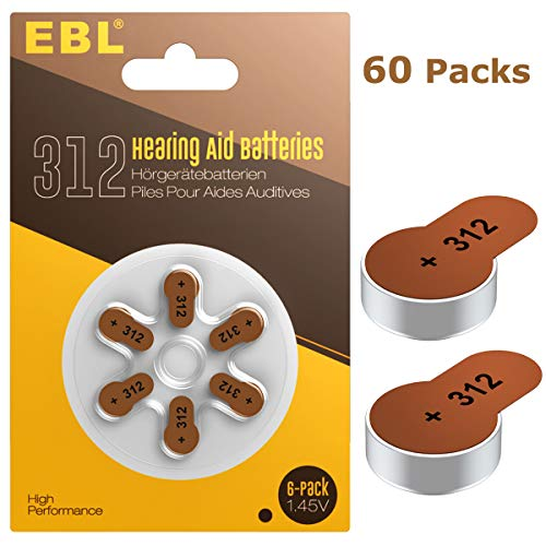 EBL Hearing Aid Batteries Size 312 PR41 60 Pack 1.45V Zinc-Air Battery by EBL
