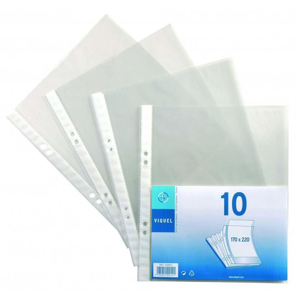 Viquel Pack Of 10 Punched Pockets Crystal 2 Ring Binder 17 22 Cm Transparent