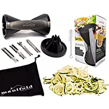 Handheld Spiralizer Vegetable Slicer with 4 Interchangeable Stainless Steel Blades — Spiralizes, Slices, Shreds, Cuts Ribbons, and Zoodles — Handheld Cleaning Brush — Dishwasher Safe (Black UPDATED)