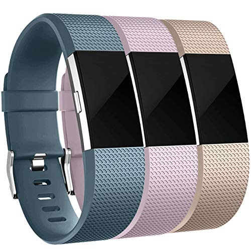 Maledan Bands Replacement Compatible with Fitbit Charge 2, 3-Pack, Champagne/Slate Blue/Lavender, Small