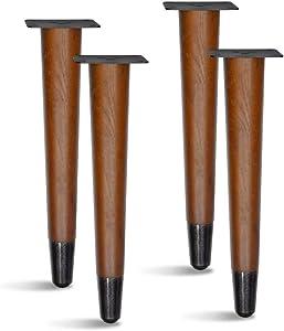 4 pcs Set Straight Wood Furniture Legs, Sofa Legs, Bench Legs, Table Legs with Metal Footings (12