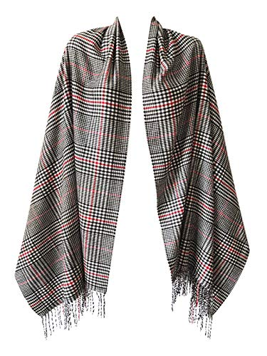 Women Oversized Scottish Clan Tartan Plaid Cashmere Feel Shawl Wrap Winter Scarf (Red Touch Houndstooth)