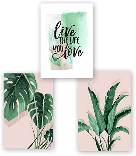 Amazon Com Nrearty Green Tropical Leaves Monstera Leaf Palm Banana Live Canvas Painting Poster Print Wall Art Pictures Living Room Home Decor 50x70cmx3 Unframed Posters Prints Tropical party decoration supplies 8 tropical palm monstera leaves. canvas painting poster print wall art