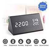 #9: Digital Alarm Clock, LED Wooden Alarm Clock, 3 Levels Adjustable Brightness Dimmer and Triple Alarms, Big Digit Display Date, Temperature and Humidity for Home Bedrooms
