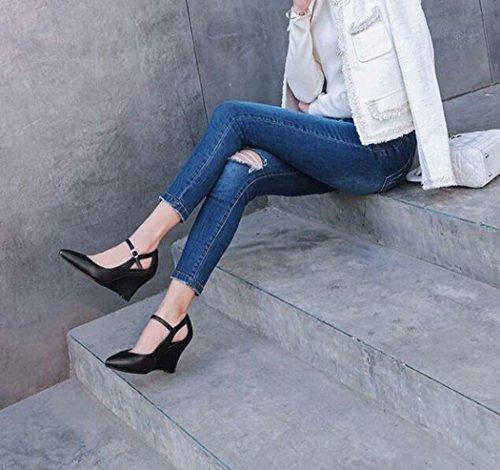 Blanco Cuña Negro Solos Color 34 Zapatos Punta de Hebilla de de Negro 39 Tamaño Tacón Las Mujeres Alto 34 Talla Estrecha Zapatos qH56HX