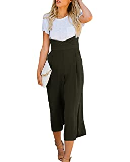 204d2f2b640 Imysty Womens Spaghetti Strap Jumpsuits Wide Leg Backless Overall Romper  Pants with Pockets