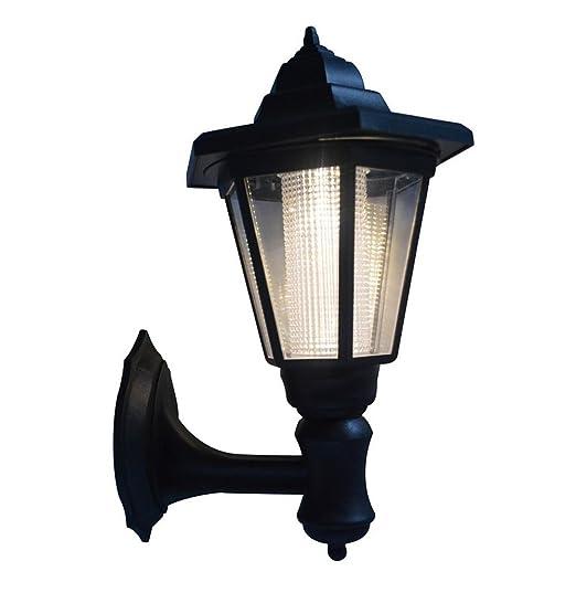 Solar Powered LED Wall Mounted Light Sconce Lantern Lamp Garden ...