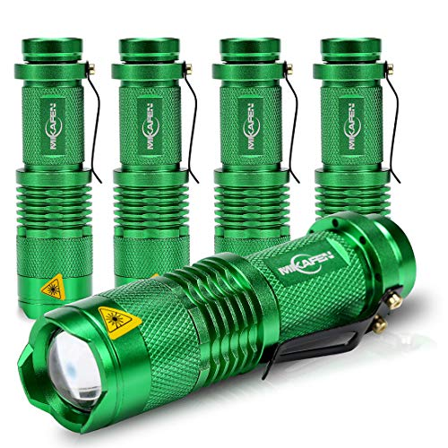 MIKAFEN 5 Pack Mini Flashlights LED Flashlight 300lm Zoomable Tactical Flashlight with 3 Modes(Green)