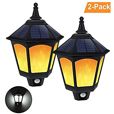 Solar Wall Light Outdoor, Greenclick 2 Modes Motion Sensor Solar Wall Lights Outdoor,Waterproof Flickering Flames Wall Mounted Solar Lights for Patio Garden Yard Porch(2PCS)