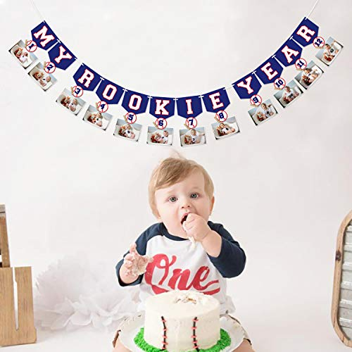 Baseball 1st Birthday Monthly Photo Banner Baseball Theme First Year Photo Banner My Rookie Year Banner for First Birthday Party Decorations Baby Shower Supplies]()