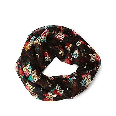 JAGENIE Donna Vintage modello gufo stampa lunga in morbido cotone Voile sciarpa scialle avvolgere sciarpe verde