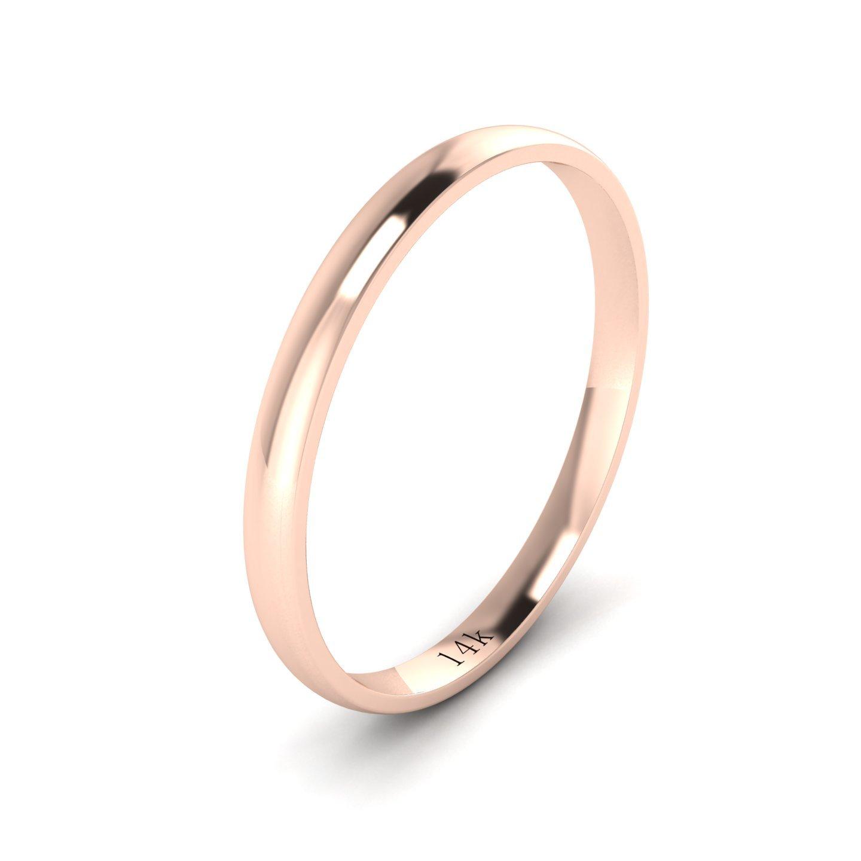 Unisex 14k Rose Gold 2mm Light Court Shape Comfort Fit Polished Wedding Ring Plain Band (10)