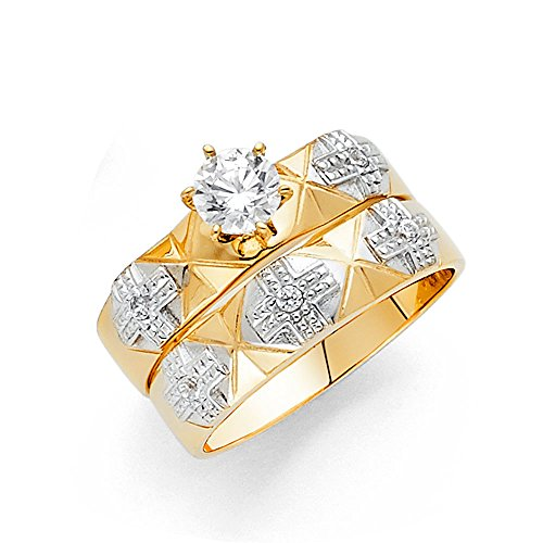 Ioka  14K Two Tone Solid Gold 05 Ct Round Cut Solitaire CZ With Crosses Wedding Engagement Ring Set  Size 75