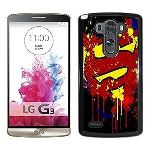 LG G3 Case,Paint Splash Superman Logo Black For LG G3 Case