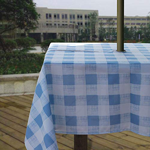 Melaluxe Heavyweight Wrinkle-Free Stain Resistant Waterproof Outdoor Tablecloth with Umbrella Hole and Zipper, Blue Checkered, 60 Inch Square