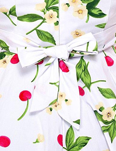 mixinni® Damen 1950er Vintage Rockabilly Kleid Retro Faltenrock Cocktail Strand Partykleid Sommerkleid mit Träger Weiß S