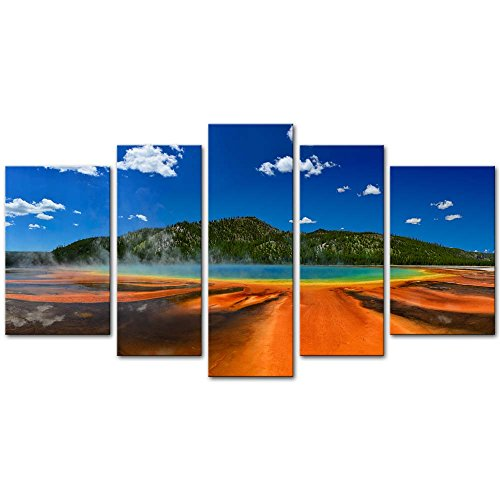 - Wall Art Decor Poster Painting On Canvas Print Pictures 5 Pieces Panorama Of The Grand Prismatic Spring In Yellowstone National Park Wyoming Usa Landscape Volcano Framed Picture For Home Decoration Living Room Artwork