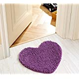 SU@DA Fashion Flannel Printed Door Mat Kitchen Bathroom Anti - skid Heart , purple , 50*60cm