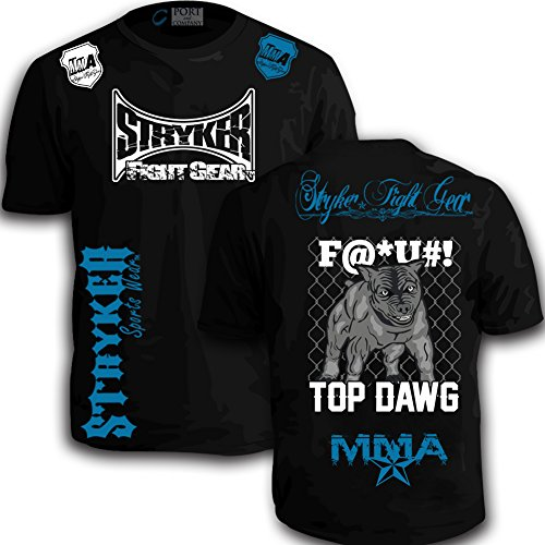 Stryker Shorts Sleeve T MMA UFC Pit bull Dog bjj Boxing With FREE Tapout Sticker Size Black_Blue White Logos 2Xl