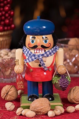 Traditional Wooden Chubby Italian Nutcracker by Clever Creations | Wine Bottle and Basket of Grapes | Festive Christmas Decor | 7'' Tall Perfect for Shelves and Tables by Clever Creations (Image #7)