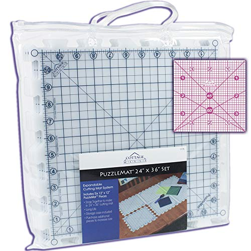 """Mats Alvin (PuzzleMat 24"""" x 36"""" Rotary Cutting Mat Set – Includes 6 – 12"""" x 12"""" pieces and carrying case. Perfect for the quilter on the go! ++ Bonus FREE 4"""" x 4"""" acrylic ruler a $5.99 value ++)"""