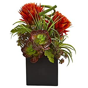 Nearly Natural 1669-OR Tropical Flower & Succulent Artificial Black Vase Silk Arrangements Orange/Red 63