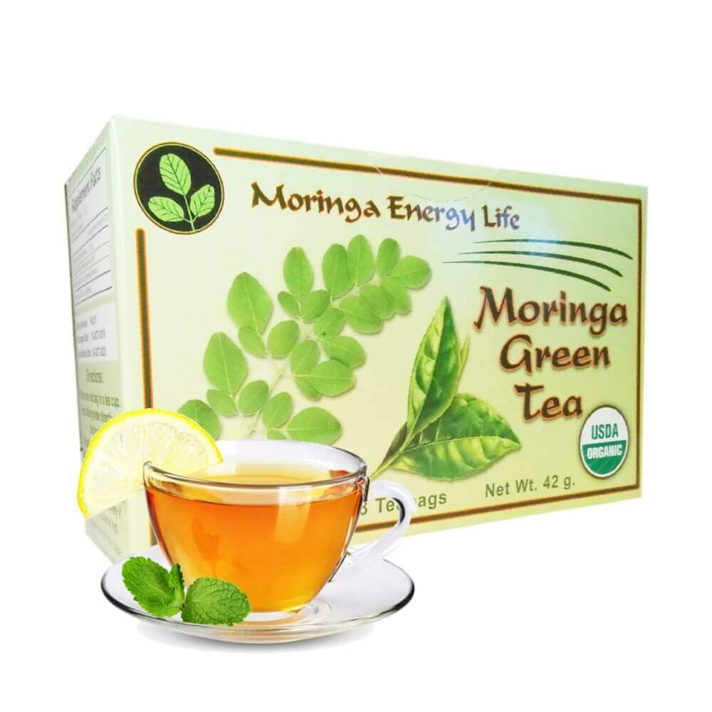 Moringa Green Tea - USDA Organic - Relieving Blend of the Finest Moringa Leaf with Green Tea Leaves for Antioxidant Rich, Immune Boosting Moringa benefits in 28 tea bags.