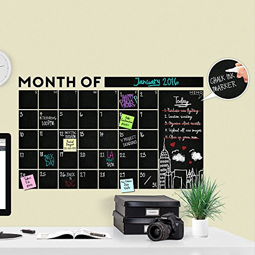 Huge Modern 2019 Monthly Chalkboard Wall Decal Calendar with Memo - A Todeco Product