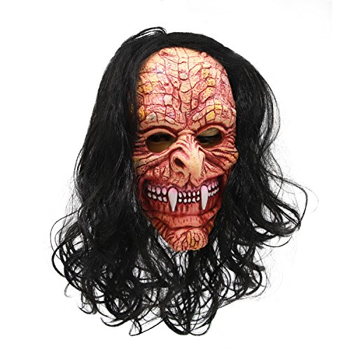 molezu Gruesome Ghost Ghoul Mask, Long-Nosed Fangs Monster with Open Mouth, Creepy Facial Expression Ferocious Horror Mask for Halloween -