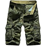 Littleice Mens Casual Shorts Cargo Pants Camouflage Pocket Sports Work Stretch Cropped Loose Trousers (B, 42)