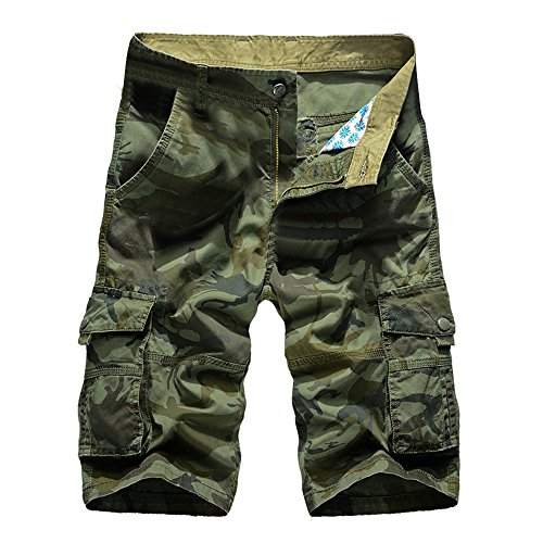 (Men's Casual Pure Color Outdoors Pocket Beach Work Trouser Cargo Shorts Pant)