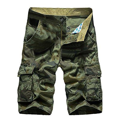 Sunyastor Camouflage Short Pants for Men,Mens Loose Fit Cargo Shorts Camo Multi Pockets Summer Outdoor Wear Beach Work ()
