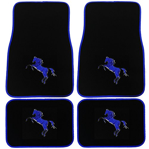 U.A.A. INC. 4pc Pony Horse Blue Logo Black Universal Carpet Floor Mats Set for Car Truck