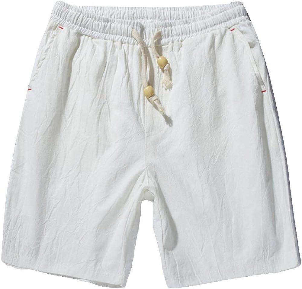 TOSKIP Men's Cotton Linen Shorts Drawstring Lightweight Beach Wear