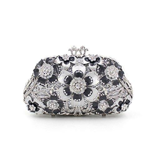 Diamantes De Lujo Cristalina Del Metal Bolso De La Cena De Las Señoras Bolso De Noche Manta Flores Black