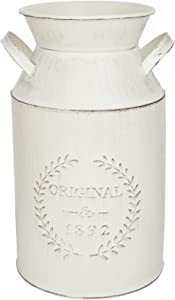 LESEN 10 Inch Modern Farmhouse Metal Flower Vase - Galvanized French Milk Can Country Jug Container - Table Centerpiece Rustic Home Decor for Fireplace and Artificial Flower Arrangements