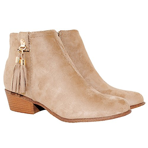 TRENDSup Collection Women's Western Inside Zipper Stacked Heel Ankle Booties (7, Taupe)