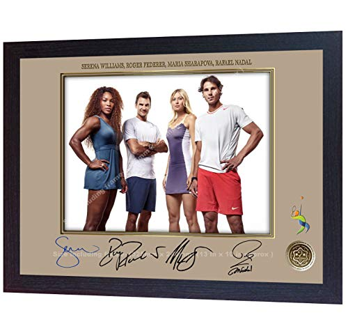 S&E DESING Roger Federer Rafael Nadal Serena Williams Maria Sharapova Signed Photo Framed