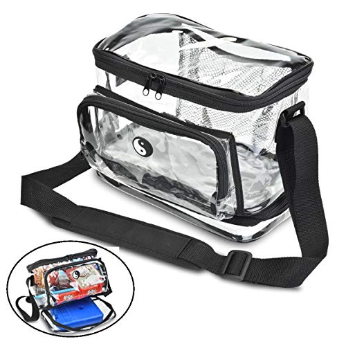 (HEAVY DUTY Clear Lunch Bag with Separate Cold Pack Compartment. KEEP YOUR FOOD COOL LONGER! Features Include Adjustable Shoulder Strap & Front Zipper Pocket)