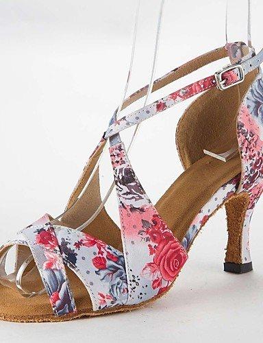 Sandales Femmes mode moderne d'Amérique latine, sandales talon aiguille Satin Chaussures de Danse Buckie,Rose,US5.5/UE36/UK3.5/CN35