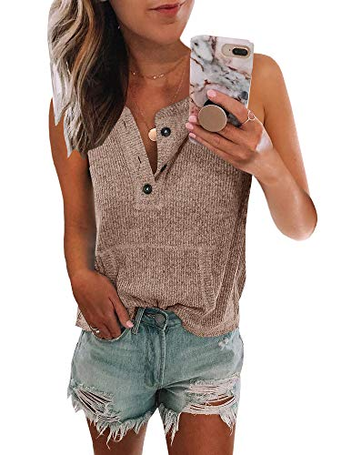 Womens V Neck Henley Shirts Pocketed Sleeveless Button Down Tank Tops Waffle Knit Tees