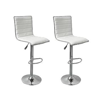 site réputé c7866 7adba vidaXL 2 tabourets chaises de bar simili cuir blanc design Duffle Rio  Repose-pieds