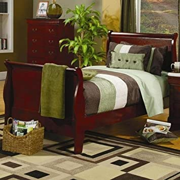 sleigh bed king size headboard coaster saint cherry finish twin frame replacement side rails
